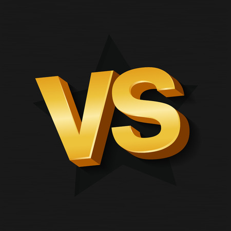 VS golden 3d letters on dark black background. Versus Vector Illustration.