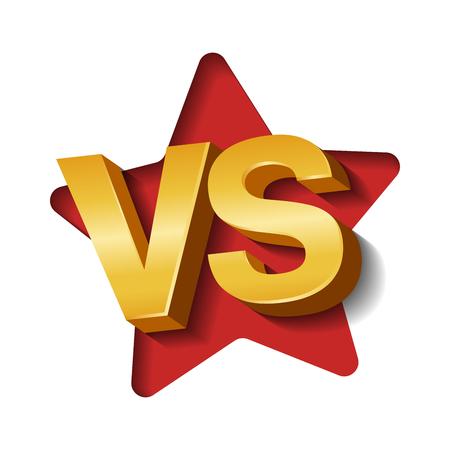 VS golden 3d letters on white background wit paper art star shape. Versus Vector Illustration.