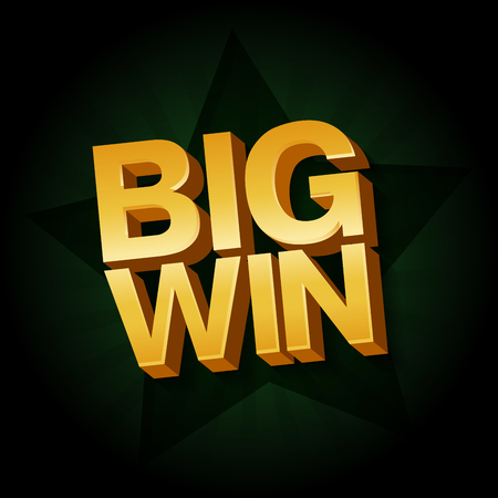 Big Win banner for online casino, poker, roulette, slot machines, card games. Vector illustration Illustration