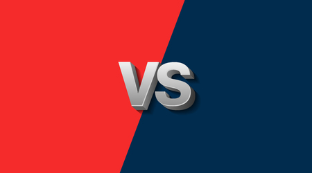 Red and Blue Fighter Background Versus Screen, Vector Illustration.