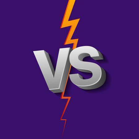 VS letters on ultraviolet background with lightning. Versus Vector Illustration. 向量圖像