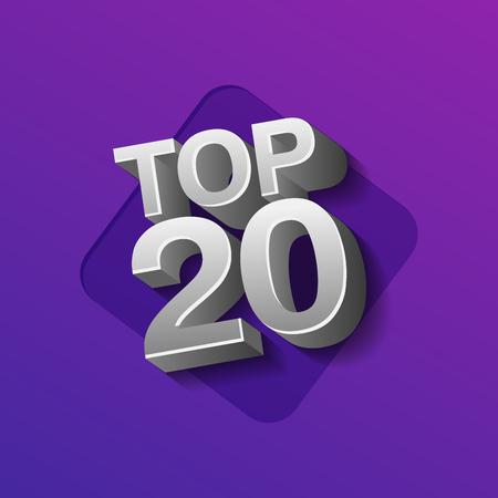 Vector illustration of silver colored Top 20 twenty words on ultraviolet background. Ilustrace
