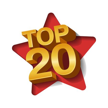 Vector illustration of golden colored Top 20 twenty words and star paper art background. Illustration