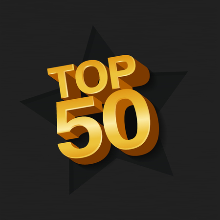 Vector illustration of golden colored Top 50 fifty words and star on dark background.