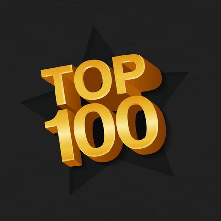 Vector illustration of golden colored Top 100 hundred words and star on dark background. Illustration