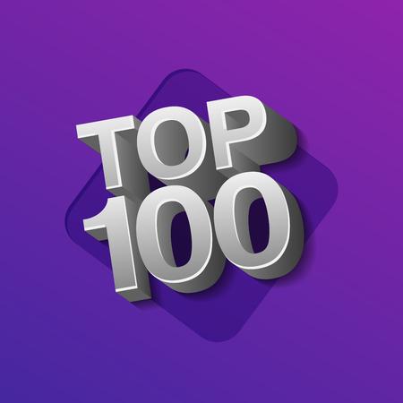 Vector illustration of cilver colored Top 100 hundred words on ultraviolet background. Ilustrace