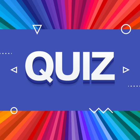 3d colorful quiz text on colourful rainbow rays background. Vector illustration Illustration