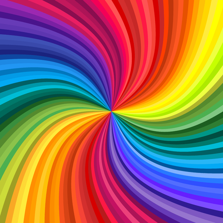 Background of vivid rainbow colored swirl twisting towards center. Vector illustration