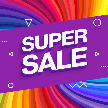 Sale banner template design, End of season special offer banner. Colorful rainbow rays background. Vector illustration.