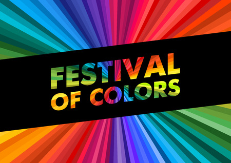 holi happy festival colors greeting colorful rainbow rays background. lettering vector illustration poster