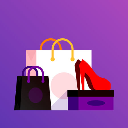 Vector illustration of shoe and cosmetics with shopping bag showing sale. Flyer, poster or banner template in trendy ultraviolet background