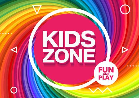 Kids Zone. Children Playground. Playground School. Fun and play. Vector illustration