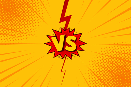 Versus VS letters fight backgrounds in flat comics style design with halftone, lightning. Vector illustration. Vettoriali