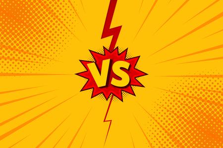 Versus VS letters fight backgrounds in flat comics style design with halftone, lightning. Vector illustration. Illustration