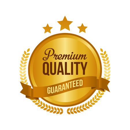 Vector guaranteed premium quality gold sign, round label illustration.