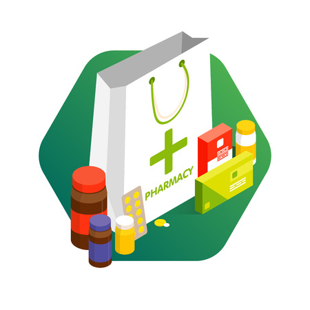 Modern pharmacy and drugstore concept. Sale and discount of vitamins and medications. Vector simple illustration. Set of pills and drugs. Vettoriali