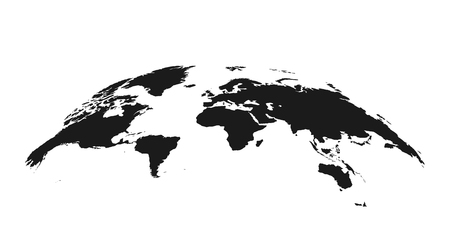 Detailed grey world map, mapped on an open globe, isolated on white background. Vector illustration