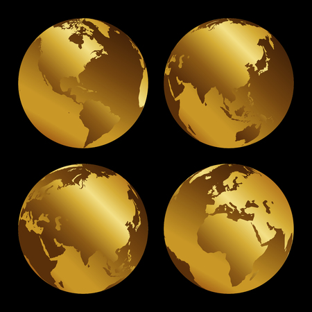 Set of golden 3d metal globes on black background, vecor illustration.
