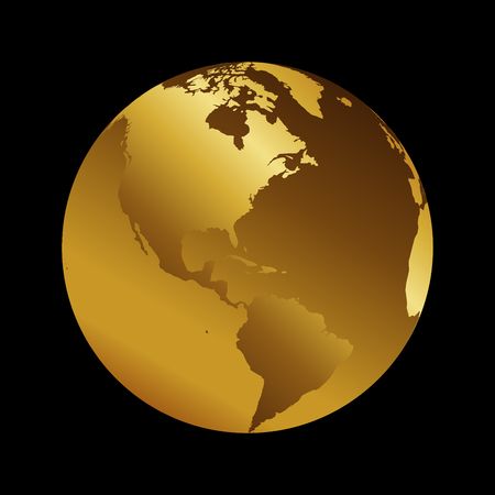 America golden 3d metal planet backdrop view usa and brazil america golden 3d metal planet backdrop view usa and brazil world map vector illustration on gumiabroncs Gallery