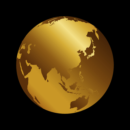 Asia golden 3d metal planet backdrop view . Russia, India and China world map vector illustration on black background.
