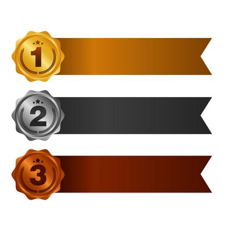 Primo, secondo e terzo posto. Set di medaglie premio isolato su bianco con nastri e stelle. Banner orizzontale Illustrazione vettoriale.