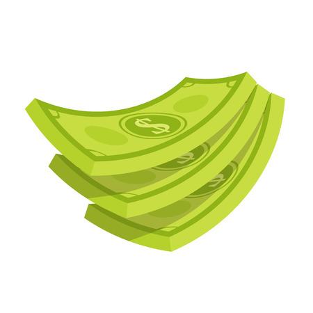 Vector illustration of Stack of dollar money.