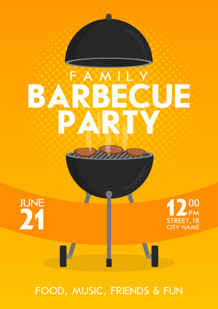 Lovely vector barbecue party invitation design template set. Trendy BBQ cookout poster design with classic charcoal grill, fork, cooking paddle and sample text