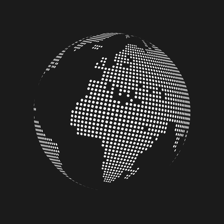 White dotted 3d earth world map globe in black background. Vector illustration. Ilustrace
