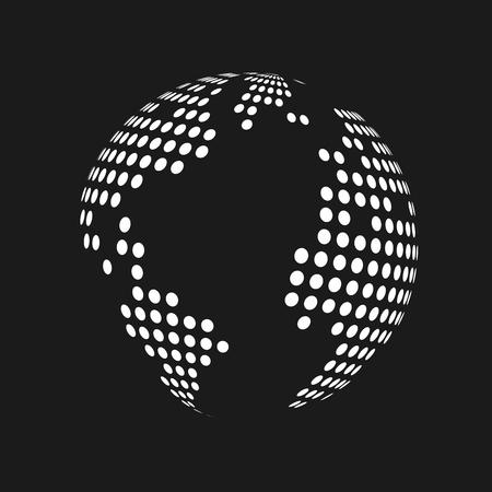 White dotted 3d earth world map globe in black background. Vector illustration. Illustration