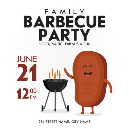 Family BBQ Party Invitation Template. Cute Steak Character Barbecue Time. Retro Background Vector Illustration.