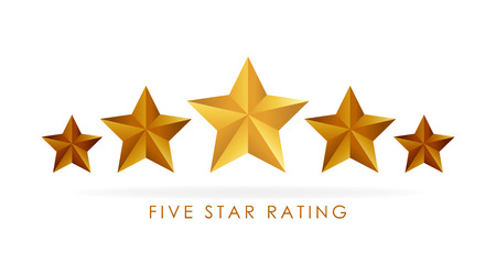 Five golden rating star vector illustration in white background. Vectores