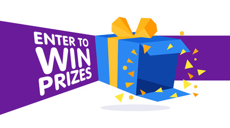 Enter to win prizes gift box. Cartoon origami style vector illustration. Web banner template Stock Illustratie