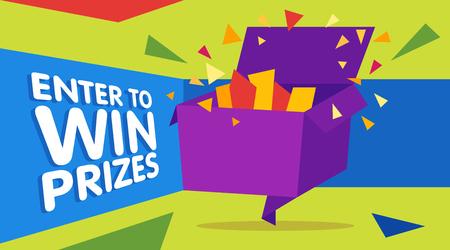 Doe mee om prijzen te winnen geschenkdoos. Cartoon origami stijl vectorillustratie. Web banner sjabloon