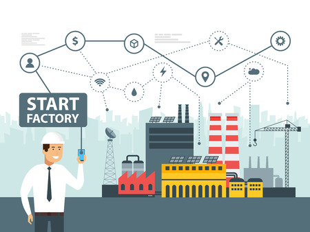 Smart factory and network icons. Engineer starting a smart plant. Smartphone online control big data. Vector illustration.