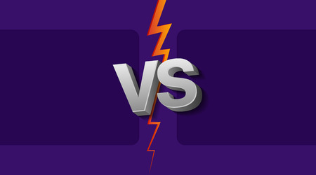 Vector illustration of two empty frames and VS letters on ultraviolet background with lightning.