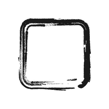 Black brush stroke in the form of square. Vector illustration. Illustration