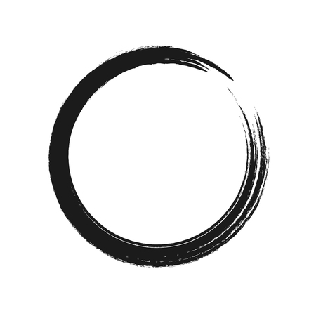 Black brush stroke in the form of a circle. Vector illustration.