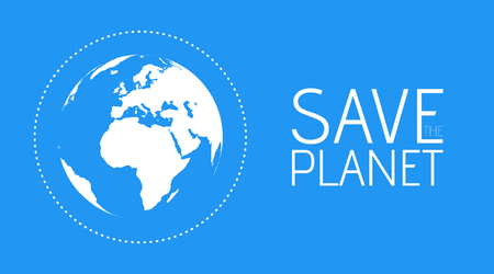 Save the Planet banner flat modern style. White globe world map in Blue background vector illustration. Ilustração