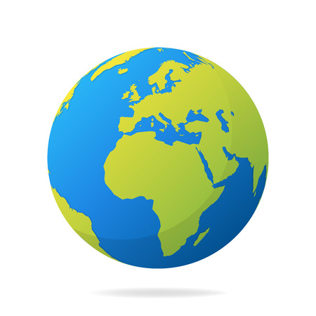 Earth globe with green continents modern 3d world map concept earth globe with green continents modern 3d world map concept world map realistic blue gumiabroncs Choice Image