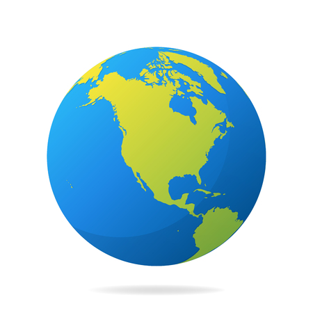 Earth globe with green continents modern 3d world map concept 96444608 earth globe with green continents modern 3d world map concept world map realistic blue ball vector illustration gumiabroncs Choice Image