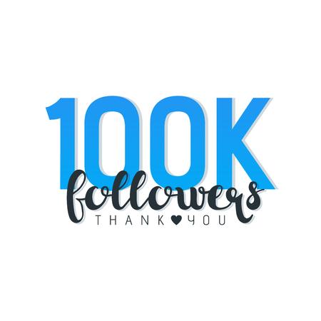 100K followers thank you letters vector illustration. Иллюстрация