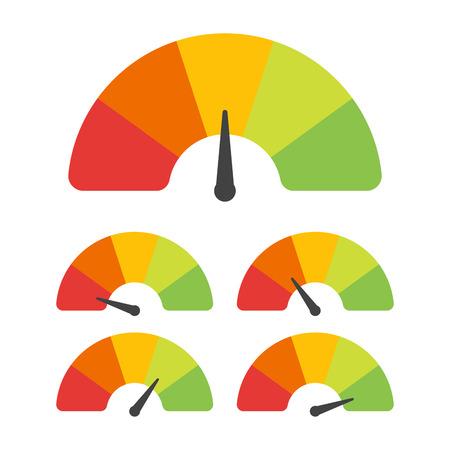 Klanttevredenheidsmeter met verschillende emoties. Vector illustratie.