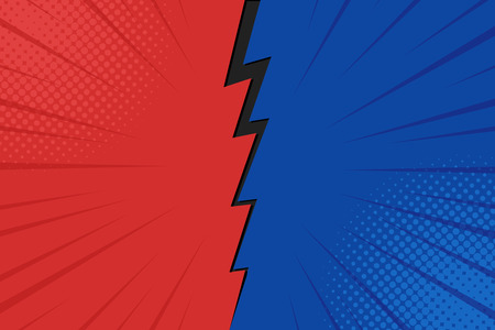 Pop art comic background lightning blast halftone dots. Cartoon Vector Illustration on red and blue. Standard-Bild - 114692829