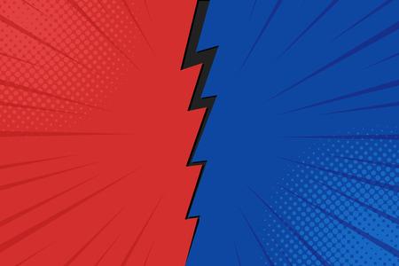 Pop art sfondo comico fulmine punti mezzatinta. Fumetto illustrazione vettoriale su rosso e blu. Vettoriali
