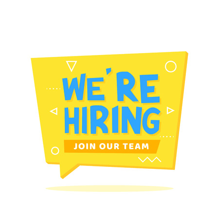 Now hiring, join the team lettering on yellow origami speech bubble. Announcements, leaflets, posters, banners vector illustration. Vectores