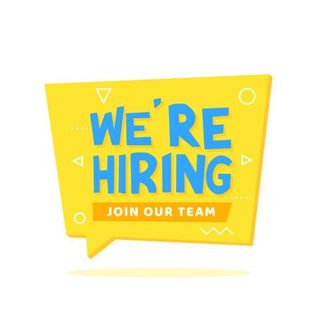 Schließen Sie sich jetzt dem Team-Schriftzug auf der gelben Origami-Sprechblase an. Ankündigungen, Broschüren, Poster, Banner-Vektor-Illustration.