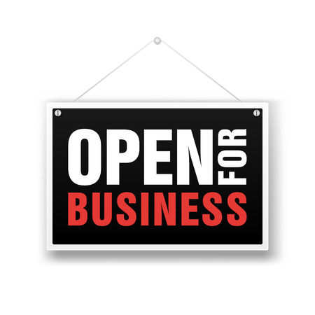Open for business sign. Financial marketing banking advertisement stock fund commercial background vector illustration. Vector Illustration