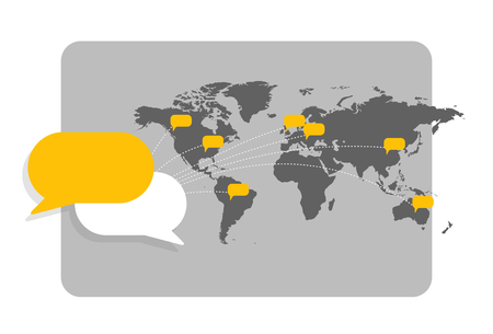 World map with message bubbles showing interconnection with each other and global communication. Ilustração
