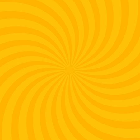 Swirling radial bright yellow pattern background. Vector illustration for swirl design. Vortex starburst spiral twirl square. Helix rotation rays. Scalable stripes. Fun sun light beams.