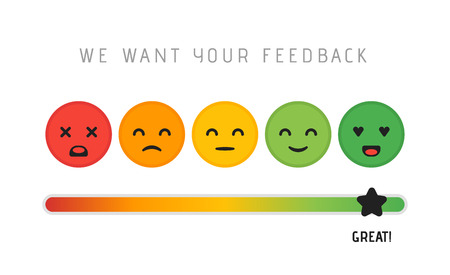 Customer satisfaction concept design. We want your feedback rating review scale star concept. Vector illustration.